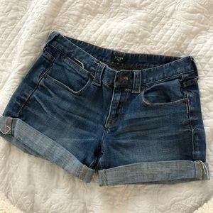 J Crew jean shorts.